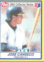 1991 Post Cereal Jose Canseco 4 Of 30 Oakland As Collector Series Baseball Card