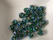 European Beads grün gemustert Anhänger Glas Lampwork 8 mm 30 Stück B78