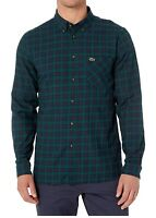 Lacoste Mens Shirt Blue Green Size 2XL Twill Woven Plaid Button Down $98 244