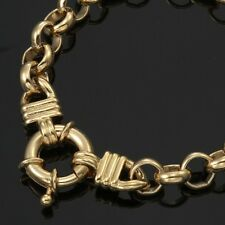 18K Yellow Gold GL Chunky Solid Women's Belcher Bracelet & Life Buoy Bolt Clasp