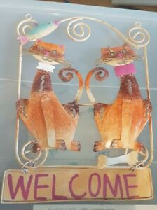Cat Welcome sign - metal wall decor