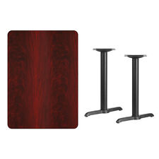"""30"""" x 42"""" Mahogany Laminate Table Top With Base - Table Height Restaurant Table"""