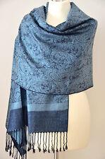 Pashmina Schal Tuch Stola Paisley gewebt 100% Viskose Blau Hellblau ca.188x71cm