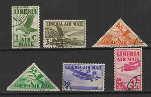 Liberia 1938 poste aérienne 6 timbres oblitérés /TR9557