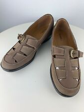 Womens Thom McAn Leather Buckle Loafer Style 40455 Womens 7M Brown Slip on