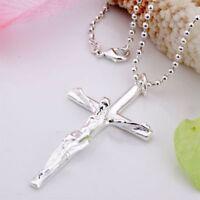 ASAMO Halskette Kreuz Anhänger Kreuzkette 925 Sterling Silber plattiert H1079
