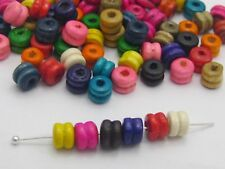 500 Mixed Colour 6X5mm Fluted Column Heishi Wood Beads