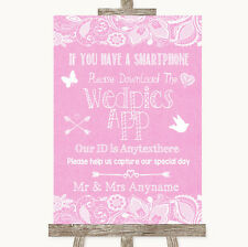 Pink Burlap & Lace Wedpics App Photos Personalised Wedding Sign