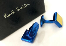 Paul Smith NEON YELLOW Cufflinks with signature embossed T-bar fastening