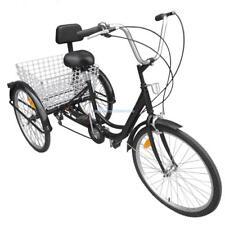 """24"""" Adult 3 Wheel Bicycle Bike Tricycle 6 Speed Basket Cruiser Beach Trike"""