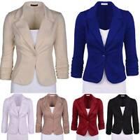 Womens Slim Fit Blazer Work Coat Suit Ladies Office Business Collar Jacket Coats