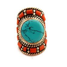 "Turquoise Coral Ring 8.5"" Tibetan Nepalese Handmade Tibet Nepal By Eksha RG50A"