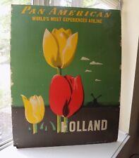 ORIGINAL PAN AM AIRLINE TRAVEL POSTER HOLLAND 1948 E. McKNIGHT KAUFFER