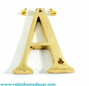 76MM (3Inch) Brass Home 26 Brass Polish Gold Alphabet Letters A to Z With Screws