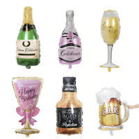 Large Champagne Bottle Glass Happy Birthday Beer Foil Balloon Wedding Party