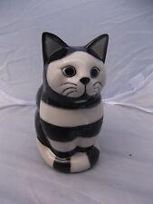 "(152) Rare Quail Pottery Cat # GILBERT Sitting # Black & White Striped # 6"" Tall"