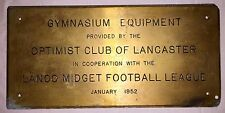 Antique Brass Plaque from Lancaster PA Lanco midget football league Dated 1952