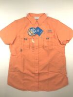Columbia PFG Womens Medium Bahama Orange S/S Omni Shade Button Casual Shirt NWT