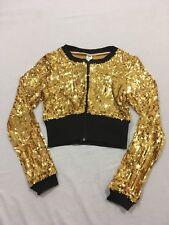 4c32d18e169d84 M90 Balera Dancewear Gold Sequin Crop Dance Zip Jacket Keyhole Top Child s M