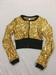 M90 Balera Dancewear Gold Sequin Crop Dance Zip Jacket Keyhole Top Child's M