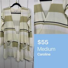 Lularoe Medium M Caroline Cardigan Sweater Cream Beige Brown Striped NEW N
