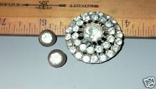 LOT OF 3 VINTAGE RHINESTONE BUTTONS LARGE & 2 SMALL
