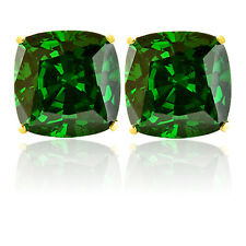 3.03 CARAT 14K SOLID YELLOW GOLD CUSHION CUT EMERALD STUD EARRINGS
