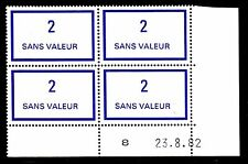 FRANCE TIMBRE FICTIF F215 ** MNH, coin daté 23.8.82, TB