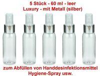 5 Stück PET Flasche 60 ml + Spray Pumpe silber Sprühflasche für unterwegs