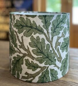 MADE TO ORDER LAMPSHADE WILLIAM MORRIS 'OAK' LEAVES GREEN WHITE