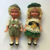 "Lot of 2 Vintage 1960s Hard Plastic German Boy and Girl Dolls 6.5"" Tall"
