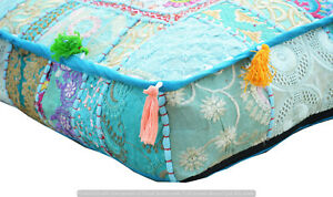 Indian Patchwork Blue Square Pouf Ottoman Floor Cushion Cover Cotton Handmade
