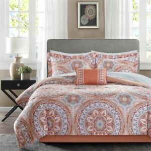 Coral Gray Grey Medallion 9 pc Comforter Set Twin XL Full Queen Cal King Bed Bag