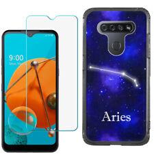 For LG K51 Slim Case (Black), w/ Tempered Glass - Zodiac / Aries