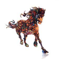 Retro Women Acrylic Printing Horse Animal Brooch Pin Costume Party Birthday Gift