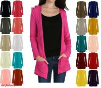 LADIES WOMENS LONG SLEEVE BOYFRIEND CARDIGAN TOP OPEN POCKET CARDIGAN SIZE 8-26