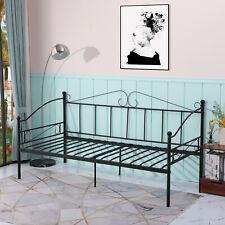 Noir Cadre de lit en Métal Structure lit banquette en Lit Simple pour Enfants