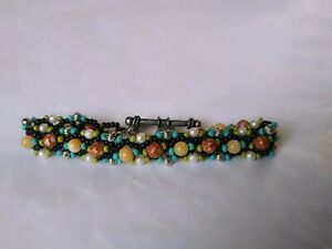 Bracelet Hand Made From Seed & Semi Precious Stone Beads Black Silver & Brown