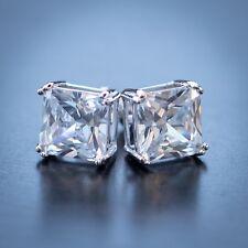 925 Sterling Silver Large Diamond Stud Earrings With Screw On Backs
