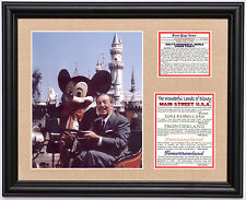 Walt Disney 1955 Disneyland opening w/ Mickey Mouse & Walt framed photo tribute