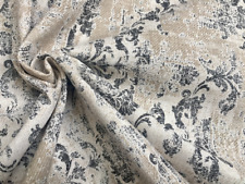 Antique Vintage Damask Print Fabric Baroque Curtain Material -140cm wide- Grey