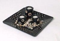 Kerzenhalter Quadrat Holz 3 Teelichthalter Dekoschale schwarz Tisch Dekoration