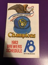 1983 Milwaukee Brewers pocket schedule 1982 AL Champs Robin Yount, Paul Molitor