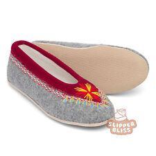 100 Genuine Woolen Felt Slippers for Women. Hand Embroidered. Best on EBAY UK 7 EU 40 Grey & Maroon