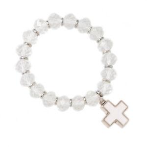 White Natural Stone Elastic Bracelet with Cross Charm, CZ Beads Stretch Bangle