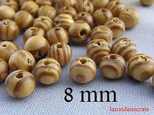 100 perles en bois rayé zébré naturel 8 mm bracelet , bijou création