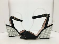 Kate Spade New York Isadora Black Satin Clear Stoned High Heels Sandals Size 6 M