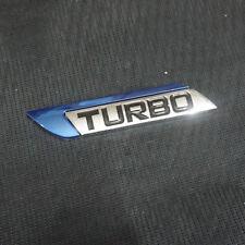 1x Metal Blue TURBO Left Sticker Emblem Badge Logo Hatchback Engine Track 3D Car