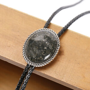 Black Sand Stone Mens Bolo Tie Wedding Necklace PU Leather Rope Western Cowboy