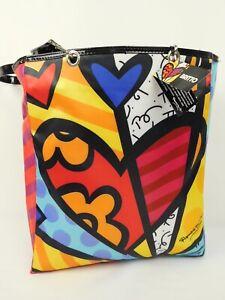 New ROMERO BRITTO Design Giftcraft Large Tote Bag Pop Art Heart Colorful 13x12x3